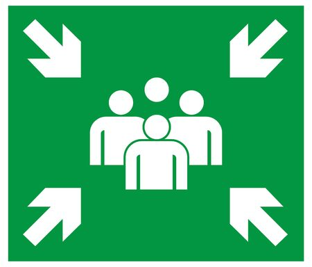 emergency evacuation assembly point signboard. green color. safety warning plate vector. warning illustration. Illustration