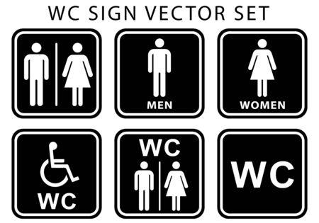 WC toilet door plate icon set. women, men and disabled human sign for restroom. flat vector illustration symbols black white color