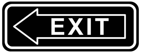 exit sign. Warning icon black color. arrow vector. Isolated on white background