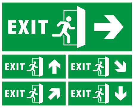 ensemble de panneaux de sortie d'urgence. icône de l'homme en cours d'exécution à la porte. couleur verte. vecteur de flèche. plaque signalétique
