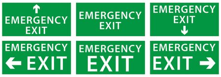 emergency exit sign set, yellow color arrow icon, isolated white background