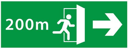 emergency exit sign. running man icon to door. green color. arrow vector. warning sign plate