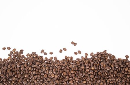 mockup of coffee beans isolated on white background