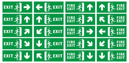 emergency exit sign set. running man icon to door. green color. arrow vector. warning sign plate