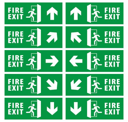 emergency fire exit sign set. running man icon to door. green color. arrow vector. warning sign plate Banque d'images