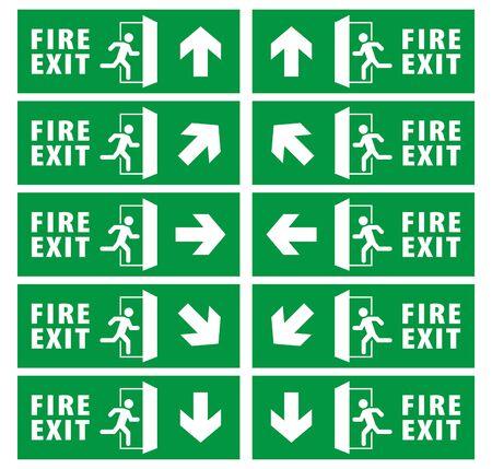 Notausgangszeichensatz. Laufender Mann-Symbol zur Tür. grüne Farbe. Pfeilvektor. Warnschild Standard-Bild