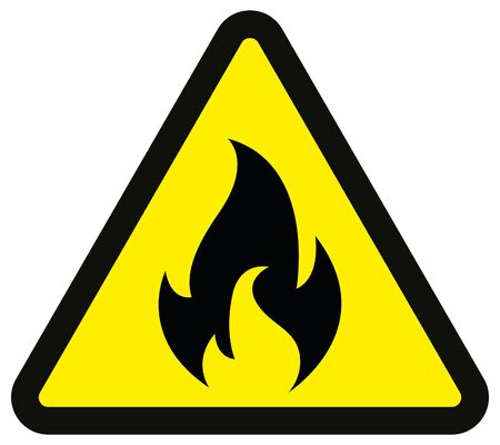 warning fire danger sign, yellow and black color isolated background