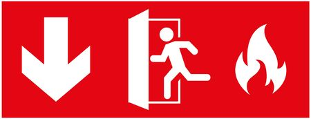 emergency fire exit sign. running man icon to door. Red color. arrow vector. warning sign plate Illusztráció
