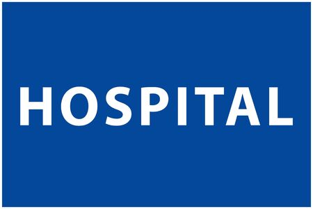Hospital text and icon, blue color isolated background