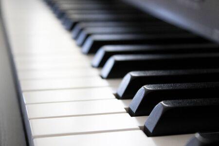 Piano keyboard, musical instrument, macro view. Stok Fotoğraf