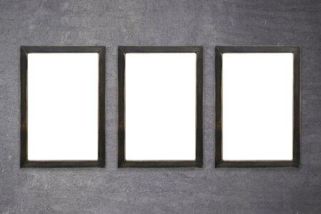 photo frame mockup design. Wooden border on isolated background