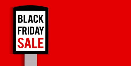 Black Friday sale shopping banner. Mockup of special day. Red and black color