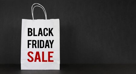 Black Friday sale shopping banner. Mockup of special day. Red and black color.