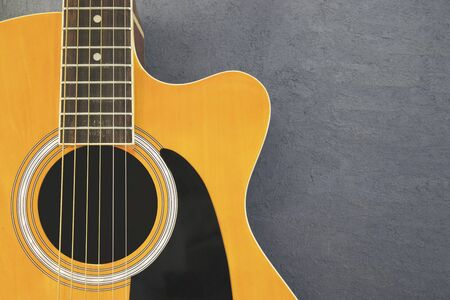 Acoustic guitar on isolated background, musical instruments. Stock Photo