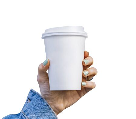 Mockup of female hand holding a Coffee paper cup isolated on white background.