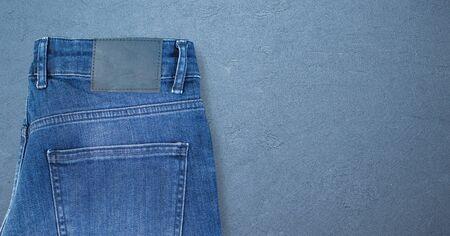 Denim jeans label mockup, isolated background. Fashion design graphics Archivio Fotografico - 137369237