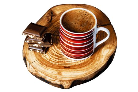 Turkish coffee and chocolate on wooden table, isolated background, cutout style Stok Fotoğraf - 137892203