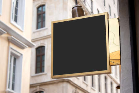 signboard mockup and template empty frame for or text on exterior street advertising city shop background, modern flat style Stok Fotoğraf
