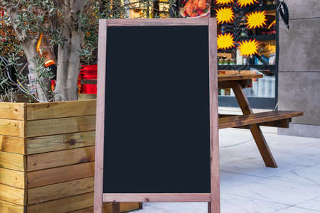 Blank board stand mock up white signage outdoor, restaurant menu template