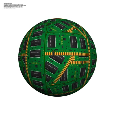 microcircuit: Abstract hollow sphere, chip, microcircuit, silicon chip, microchip