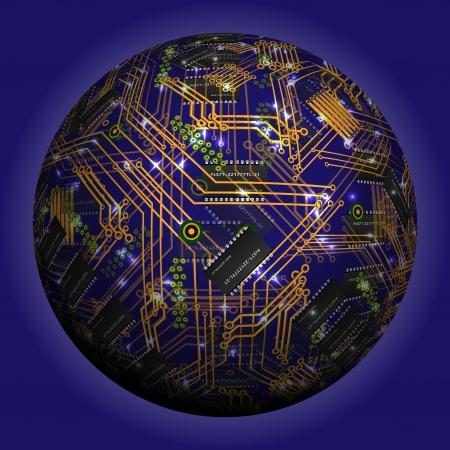 규소: 추상 빈 구, 칩, 마이크로 회로, 실리콘 칩, 마이크로 칩