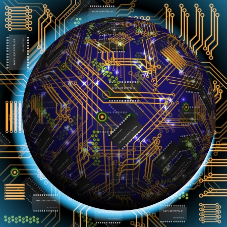 electronic circuit board: Abstract hollow sphere, chip, microcircuit, silicon chip, microchip