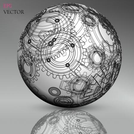 hollow: Abstract hollow sphere, cogwheel Illustration