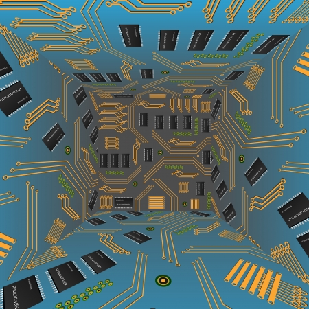 microcircuit: chip, microcircuit, silicon chip, microchip