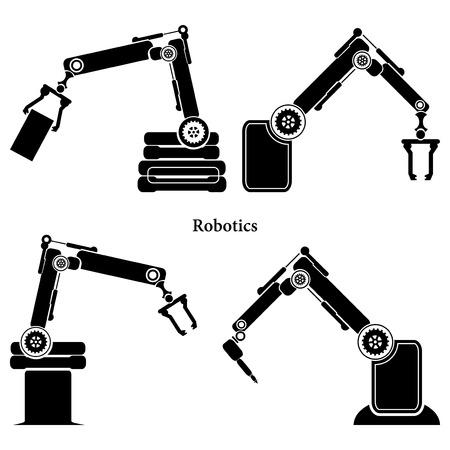 factory automation: Vector robotic symbol Illustration
