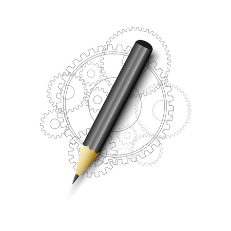 gears and pencil