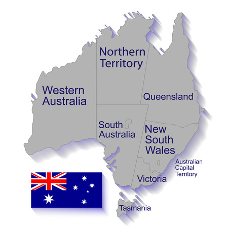 queensland: Australia, political map, flag Stock Photo