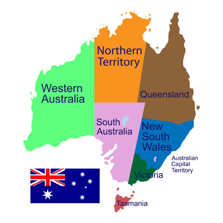 queensland: Australia, political maps, flags