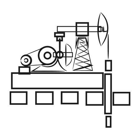 oil well: oil, oil well, oil derrick Illustration