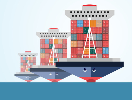 water carrier: ship containers, high-altitude crane with a container