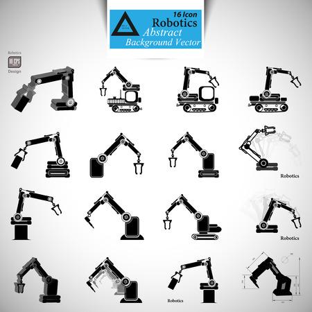 mecanica industrial: la robótica, la mano del robot, el icono de robot Vectores