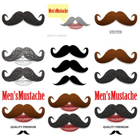 hair mask: Mustache set Illustration