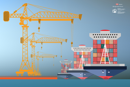 heavy equipment: ship containers, high-altitude crane with a container
