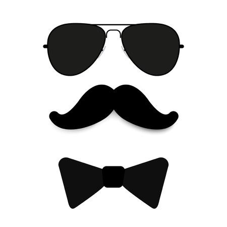glasses, mustache, butterfly tie