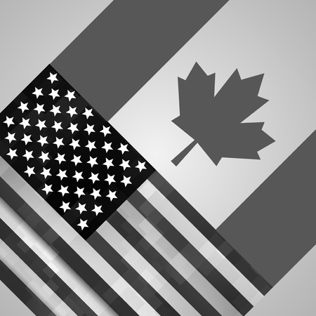 Canada, US flags. Canadian and American grunge flag.