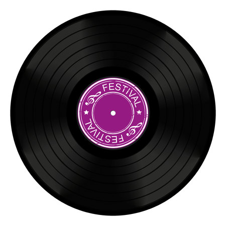 On white background isolated object music, vinyl Illustration