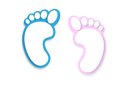 Op een witte achtergrond voeten, prints foots Stock Illustratie