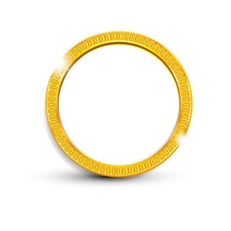 gold ring on white background, isolated object vector Illustration
