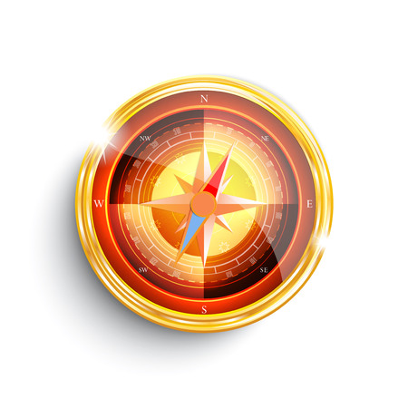 On white background isolated object compass vector