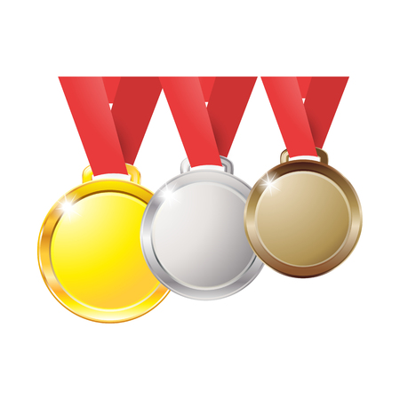 Medals gold silver bronze copper on a red ribbon isolated on white background, medal Illustration
