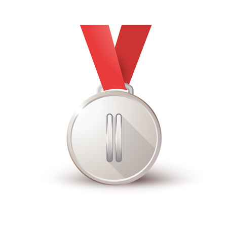 Medal on a red ribbon isolated on white background, medal