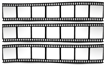 Op wit in zwart-witte kleuren film, film, foto, filmstrip Stock Illustratie