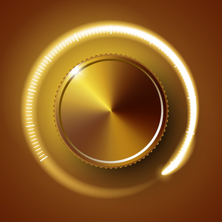 Volume button, music knob, sound control with metal texture and number scale isolated on background