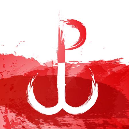 op witte rode achtergronden object abstract de opstand van Warschau Stock Illustratie