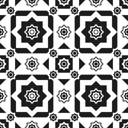 metal mesh: Seamless pattern black and white abstraction on white background of an octagon