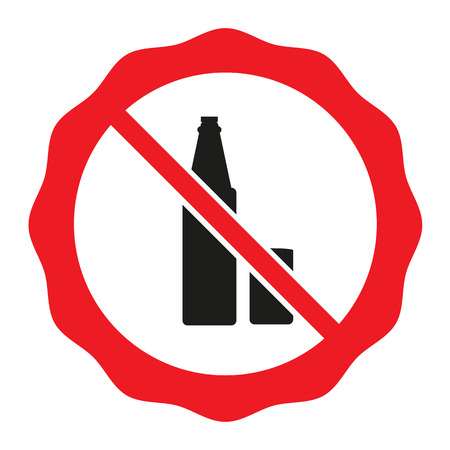 No alcohol sing vector red icon ban